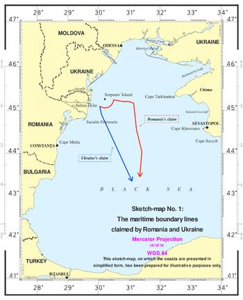 Maritime boundary established by the ICJ. Source: Wikipedia