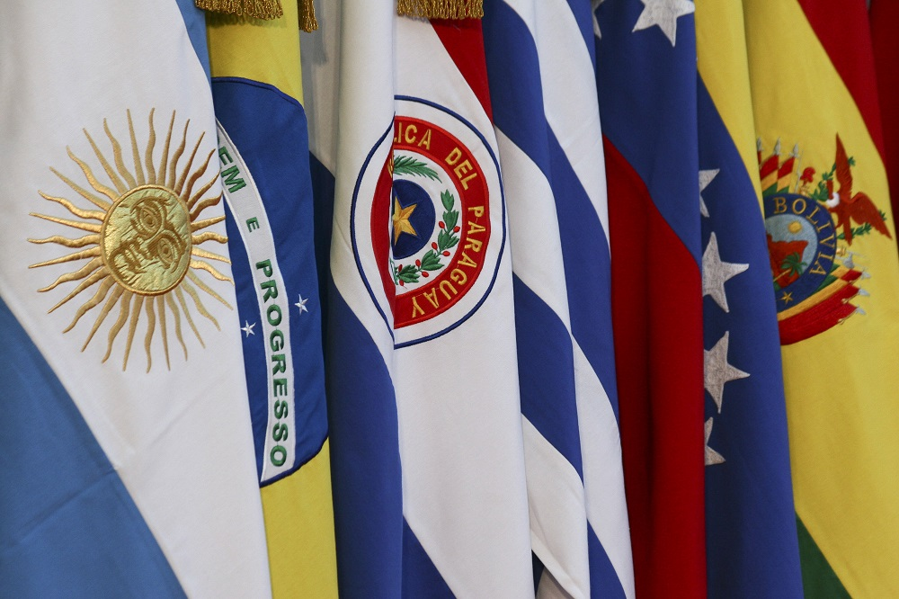 (FILE) Flags of countries members of Mercosur at XLIII summit, June 28, 2012. Paraguay's government expects the World Trade Organization (WTO) to intervene in their favor in the dispute with Argentina over the measures that apply to the country and that are affecting bilateral trade, stated Chancellor Jose Fernandez Estigarribia, November 6, 2012. Photo: Diego Pares/dpa/aa
