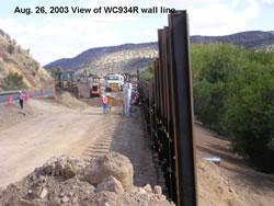 Soldier Pile Lagging Wall on US 70 near Ruidoso, NM. Photo courtesy of Mike Pegnam, Golder Associates, Inc.