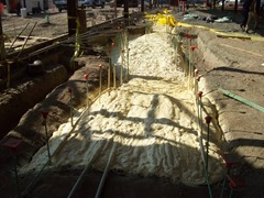 TerraThane used as a substitute for conventional trench backfill