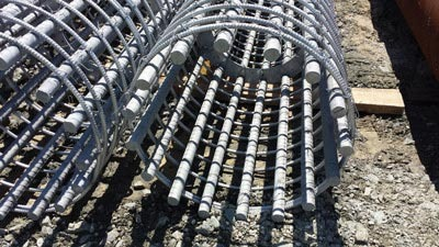 Officials with New York's Tappan Zee Bridge project provided DelDOT with these reinforcing steel cages for the drilled shafts.