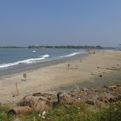 The beach at Fort Kochi looking towards Willingdon Island (the largest man-made island in India)