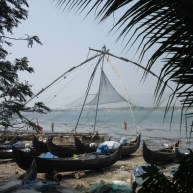 One of the Chinese fishing nets at Fort Kochi.