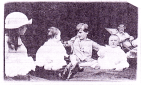 Kittie Calderon 'keeping an eye on' Pym and Lubbock children at Foxwold, c.1912