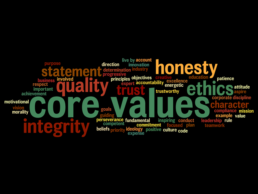 Conceptual core values integrity ethics abstract concept word cl