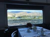 White tablecloths in the Dining Car