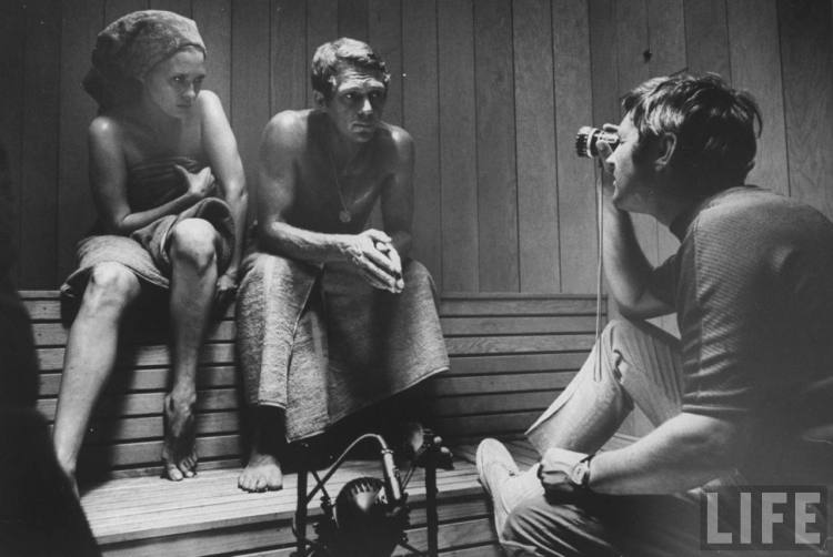 Faye Dunaway and Steve McQueen on the set with director Norman Jewison.