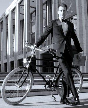 Bike: Brooklyn Cruiser; tuxedo: online custom; shirt: Paul Fredrick; bow tie, studs, cufflinks: Fine and Dandy. Photo by Billy Powers.