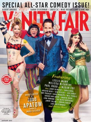 Vanity Fair Comedy Issue cover (2 of 3): Leslie Mann, Melissa McCarthy, Paul Rudd and Megan Fox. Photo by Mark Seliger.