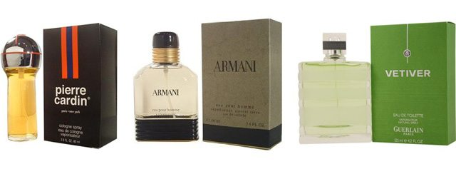 Pierre Cardin, Giorgio Armani and Guerlain Vetiver.