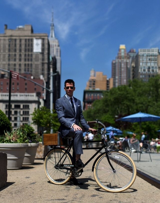 At the pedestrian plaza across from the Flatiron Building. Photo by Dmitry Gudkov for #BikeNYC. Click for full profile.