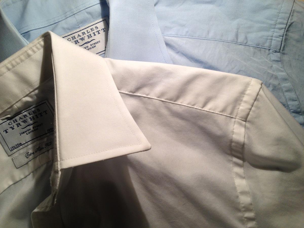 Paul Fredrick Mens Non-Iron Cotton Herringbone Button Cuff Dress Shirt