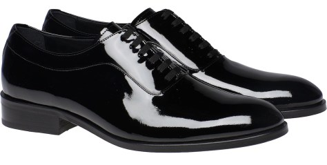 "Black patent leather tuxedo ""pumps."""