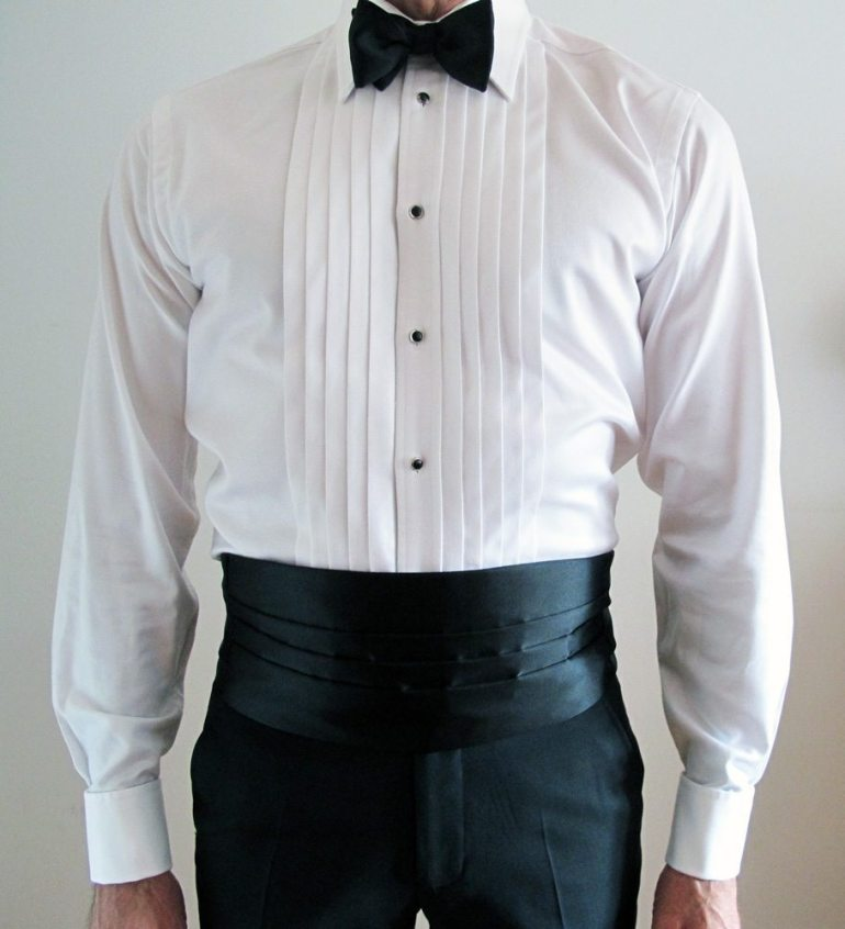 One of my formal shirts, worn with onyx and silver formal set, and a cummerbund.