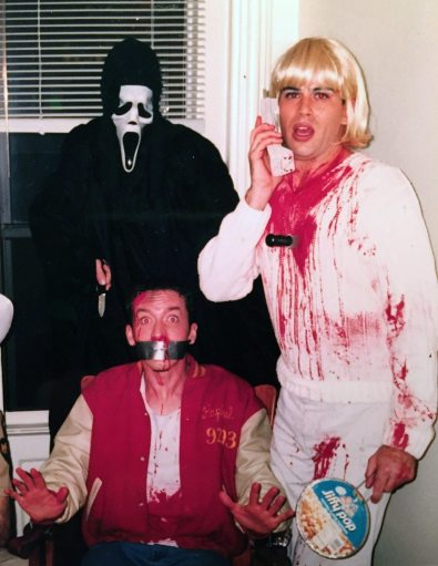 As Drew Barrymore from SCREAM on Halloween in 1997, New York City. Very messy, on several levels.