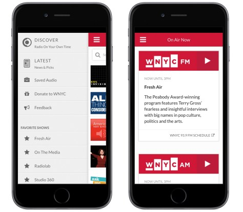 The WNYC app for iPhone