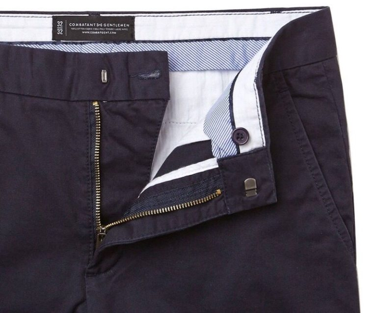 Navy Blue Slim Straight Chinos