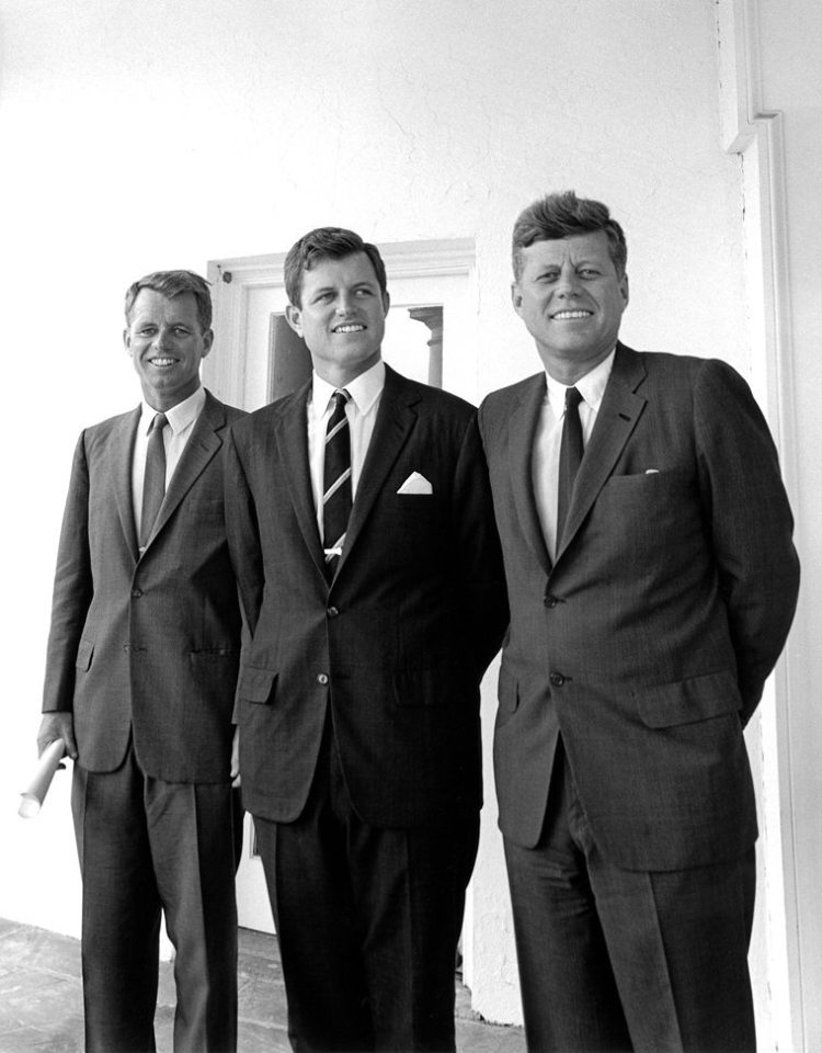 President Kennedy and his brothers, Attorney General Robert F. Kennedy and Senator Edward M. Kennedy outside the Oval Office.