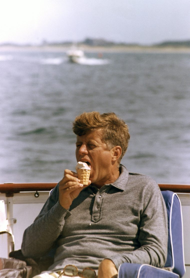 "President Kennedy aboard the ""Honey Fitz"", off Hyannis Port, MA. Photograph by Cecil Stoughton."