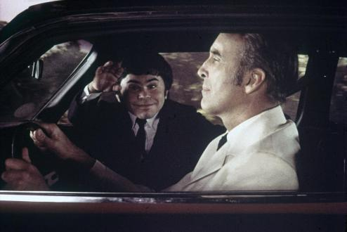 "Christopher Lee with Hervé Villechaize as ""Nick Nack"""