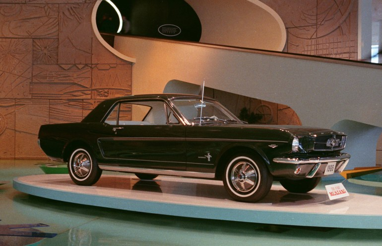 The 1965 Ford Mustang on display at the 1964 World's Fair.