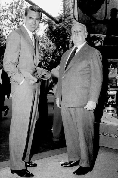 Cary Grant and Alfred Hitchcock on the set of North by Northwest.