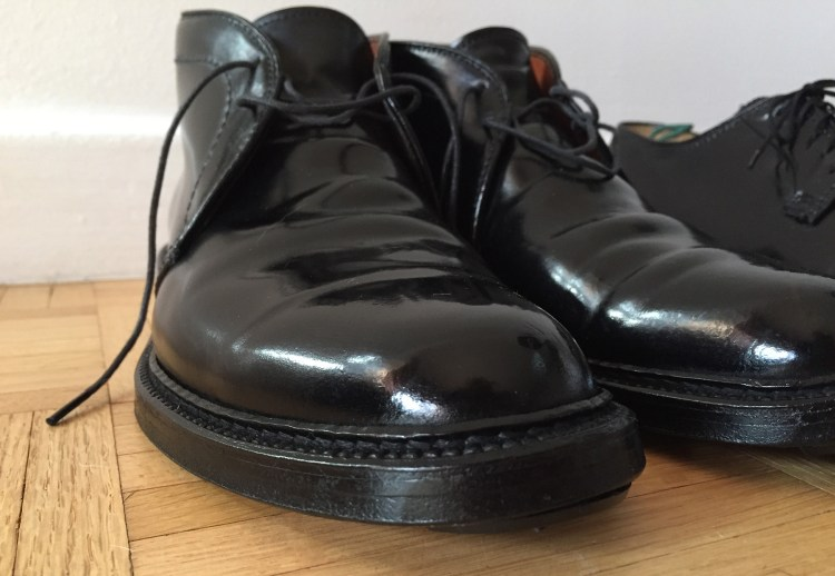 A closeup of my black Goodyear-welted Alden chukka boots.