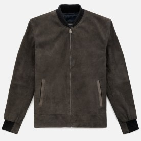 Cole Bomber Jacket in charcoal suede