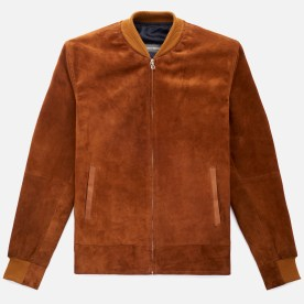 Cole Bomber Jacket in chestnut suede