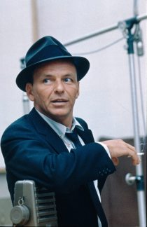 Frank Sinatra in the recording studio.
