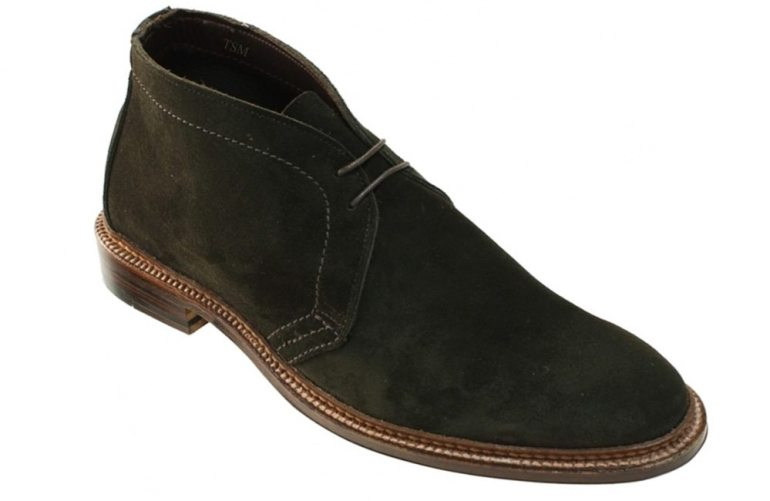 Alden Unlined Flex Welt Suede Chukka in dark brown.