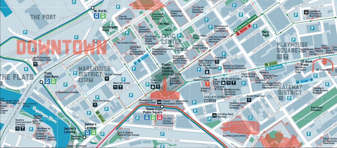 Cleveland Downtown Hotels Map on