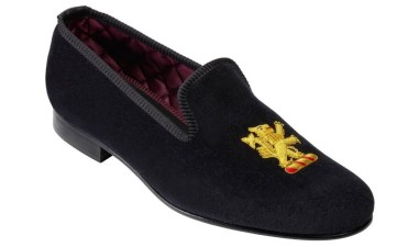 """Lion Rampant"" Velvet Evening Slipper from Crockett & Jones."