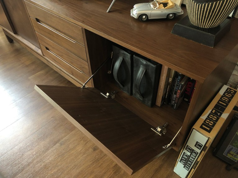 Cabinet with a pull-down door.