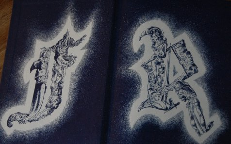 Front Endpapers - It's always a pleasure to open up a book and be greeted with artwork; here, Ward toys around with Rabelais' initials, stuffing them with his creations.