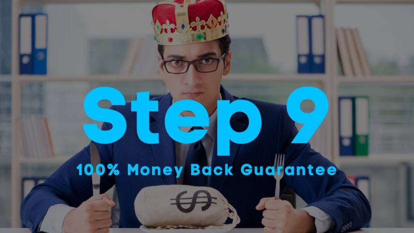 A blog image of a man in dress clothes, wearing a crown, holding a fork and knife. A money bag on his plate. Step 9. 100% Money Back Guarantee.