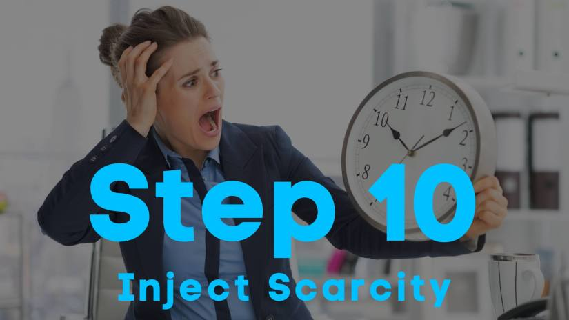 A blog image of a woman in dress clothes with a fearful look on her face holding a clock. Step 10. Inject Scarcity.