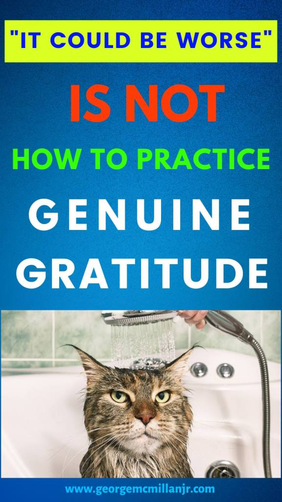 """A blue pinterest pin image with a grumpy cat getting a shower and text that says, """"It Could Be Worse"""" Is Not How to Practice Genuine Gratitude."""