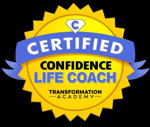 A blue and yellow logo that says, Certified Confidence Life Coach from the Transformation Academy.