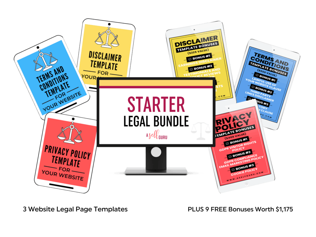 A Self Guru's Starter Legal Bundle. Includes: Privacy policy, disclaimer, and terms and conditions.