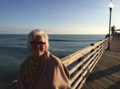 Lori, always stylish, on the pier.
