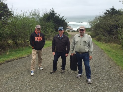 Eric, Bob and Tom head out on a morning walk.