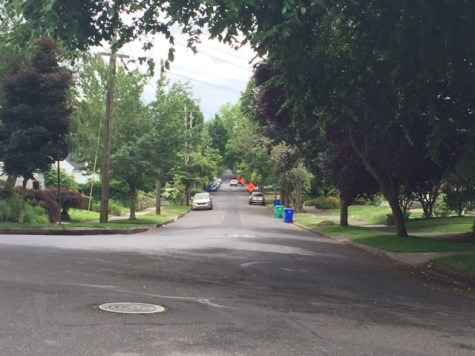 Looking south from NE Wistaria Drive toward NE 38th Avenue, where we used to live.