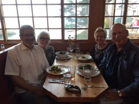 A friendship that began in Salem is nurtured over dinner at Doe Bay Cafe. From left: George, Lori, Deb and Bob.