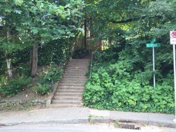 A staircase at the corner of SE 71st Avenue and Taylor Street leads to a shortcut on the eastern flank of the park.