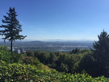 This view from Northwood Drive includes the Willamette River, Portland's east side and the Cascade Range.