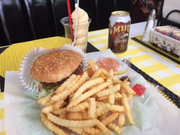 Handmade candies by Susie add a personal touch to a burger, fries and ice cream float.