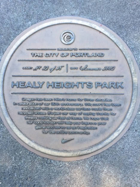 "Nike's contribution to a ""world-class surface"" for the basketball court is duly noted at Healy Heights Park."