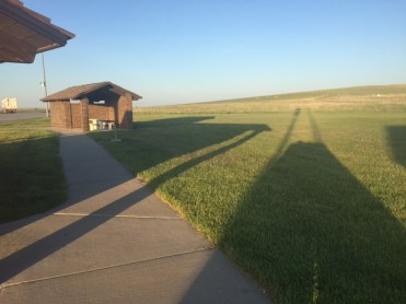 Late afternoon shadows at a South Dakota rest stop.