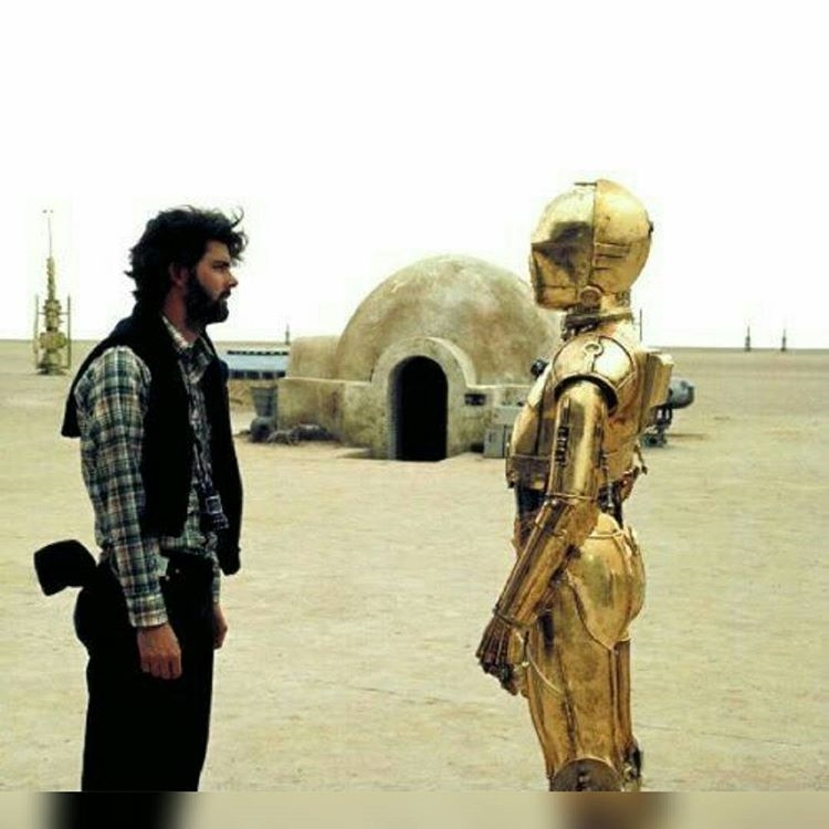 -Your motivation is that everybody needs to hate you so that they love r2d2, so I can sell millions of  toys. Whine, whine uncontrollably. regram @rogue_one_official Sunday time!🌌 George and C3po behind the scenes. Shot during the New Hope in Tatoiine desert. #droid #lucas #c3po #tatoine #behindthescenes #rogueone #starwars #movies #theatre #video #movie #film #films #videos #actor #actress #cinema #dvd #instamovies #star #moviestar #photooftheday #hollywood
